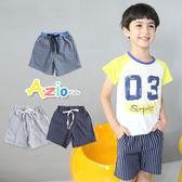 童裝 短褲 藍白直紋/雙線直紋綁帶造型口袋鬆緊短褲(共3款)