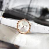 CK / K2Y236K6 / 簡約典雅 礦石強化玻璃 瑞士製造 壓紋皮革手錶 白x玫瑰金框 32mm