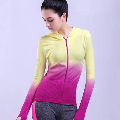 新品運動跑步外套女連帽修身漸變T恤拉鍊長袖健身衛衣   -124820025