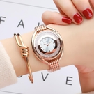 手錶女士鋼帶時尚奢華潮流防水流沙水鉆女錶抖音同款網紅簡約韓版