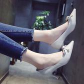 蝴蝶結淺口少女高跟鞋 細跟中跟尖頭鞋子【多多鞋包店】z5486