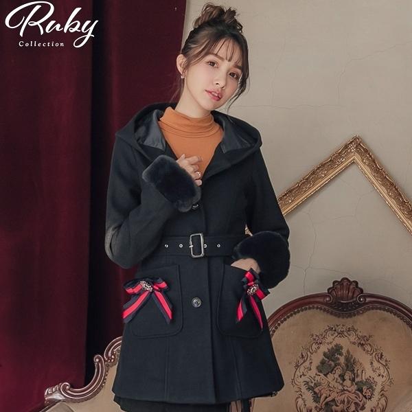 外套 露比設計‧可拆式毛毛袖口連帽修身毛呢外套-Ruby s 露比午茶