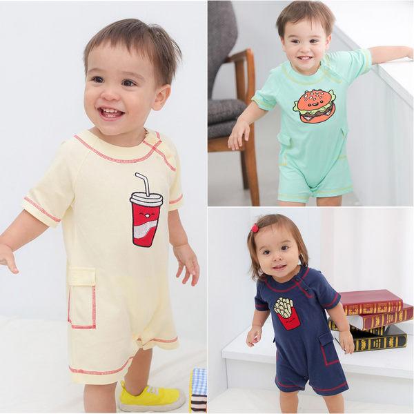 短袖連身衣 純棉 刺繡 爬服 哈衣 男寶寶 女寶寶 Augelute Baby 60012