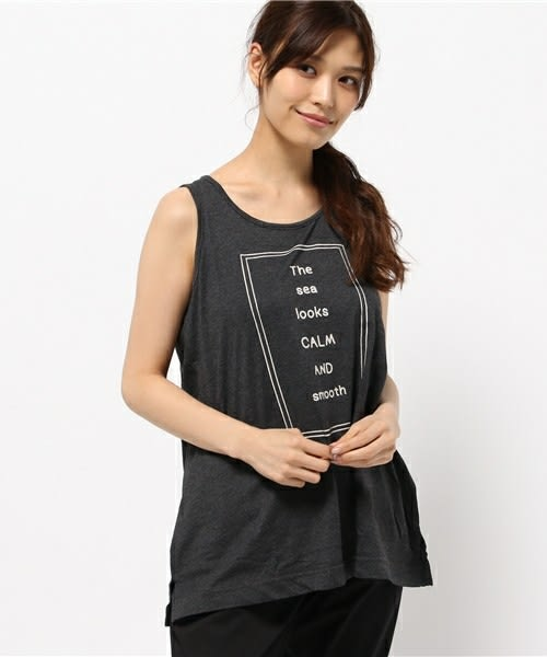 ❖ Hot item ❖ LOGO字母框壓印ALINE剪裁背心上衣 (※提醒 : SM2僅單一尺寸) - Sm2