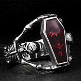 《 QBOX 》FASHION 飾品【RBR8-101】精緻龐克風吸血鬼骷顱頭棺材鑄造鈦鋼戒指/戒環