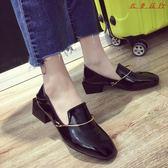 單鞋女粗跟女鞋英倫風復古方頭套腳小皮鞋 衣普菈