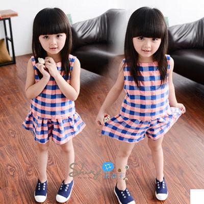 【R0066】shiny藍格子-嬰幼館. 春裝新款女童格子上衣短褲套裝