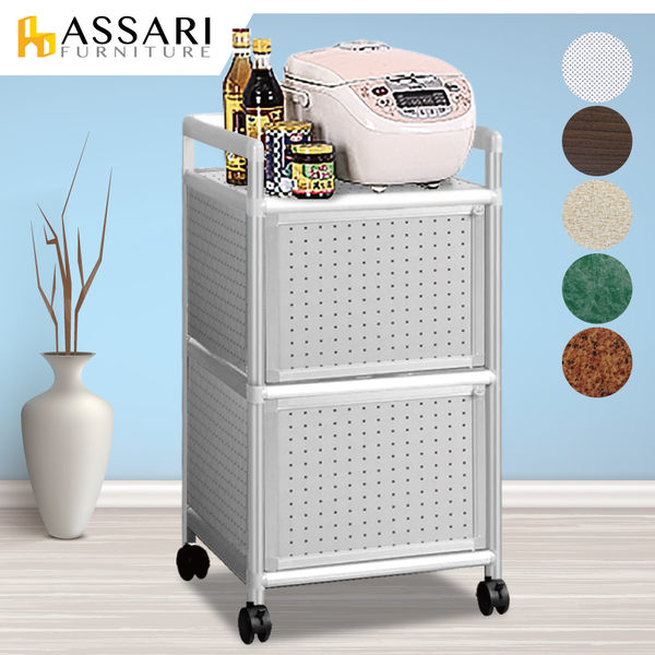 ASSARI-輕量鋁合金1.3尺二門置物櫃-附輪(寬40*深41*高84cm)