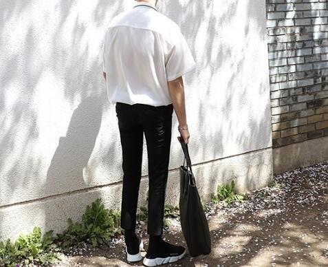 找到自己 MD 韓國 休閒 時尚 男 簡約 滑感面料 睡衣式 翻領短袖襯衫 素面襯衫 T恤