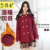 保暖外套--貴族時尚可拆式皮草雙排釦保暖毛呢大衣外套(灰.紅2L-5L)-J104眼圈熊中大尺碼