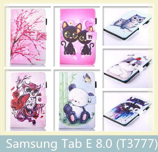 Samsung 三星 Tab E 8.0 (T3777) 多功能彩繪檔位皮套 插卡 支架 軟殼 平版殼 平版套 皮套 保護殼 保護套