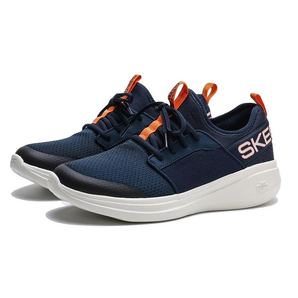 SKECHERS SK GO RUN FAST 白底 深藍 橘 襪套式 慢跑 男 (布魯克林) 55109NVOR