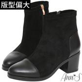 Ann'S異材質皮革拼接防水絨布粗跟短靴-黑
