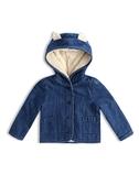 Gap 嬰兒女嬰 保暖仿羊羔絨內裏熊耳造型外套 489586-中度水洗