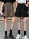黑色西裝短褲女薄款中褲新款寬鬆A字闊腿褲直筒五分褲子 極有家