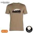 【Icebreaker 男 Tech Lite圓領短袖上衣AD150《冰山高峰-燧石褐》】IB105392/短T/T恤/運動短袖