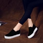 布鞋厚底鞋黑白色一腳套懶人鞋帆布鞋女鞋內增高韓版休閒鞋小白鞋 蘑菇街小屋