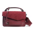 Botkier Cobble Hill 防刮皮革拼接麂皮手提斜背二用風琴包(紅莓色)260009-5