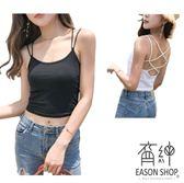 EASON SHOP(GU6793)實拍露背細肩帶後背交叉胸墊吊帶背心短款修身性感背心彈力貼身內搭衫女上衣服