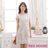 【RED HOUSE-蕾赫斯】刺繡拼接蕾絲洋裝(咖啡色)