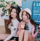 JE 粉色兩件式長袖衝浪條紋碎花 泳裝溫泉泳衣比基尼 【560A】