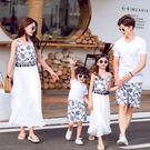 古典青花瓷短袖套裝親子裝(女童)