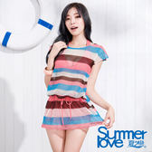 【SUMMERLOVE夏之戀】南洋風情連身裙三件式泳衣-S15721