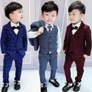 兒童禮服男童禮服英倫格子小西裝3兒童馬甲三件套5春秋4歲男孩7花童套裝6-完美