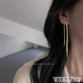 流蘇耳環蝴蝶結氣質耳環2021年新款潮設計感高級大氣長款流蘇耳墜耳飾女 迷你屋 新品