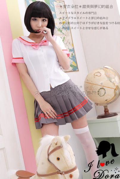 學生裝 白色短袖上衣百摺裙 學生制服角色扮演服飾- 愛衣朵拉