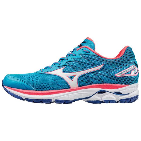 Mizuno WAVE RIDER 20 美津濃 女鞋 慢跑 路跑 寬楦 桃紅 藍 【運動世界】 J1GD170601