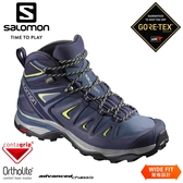 【SALOMON 索羅門 女 X ULTRA 3 GTX 中筒登山鞋WIDE《藍/綠》】401296/防水越野鞋/戶外健行鞋