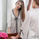 性感睡衣 大尺碼Annabery緞帶飾邊奶白柔緞二件式罩衫丁褲組 愛的蔓延 NY14020010