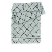 【CHANEL】Logo黑線菱格紋喀什米爾羊毛圍巾(綠色) CH75000004