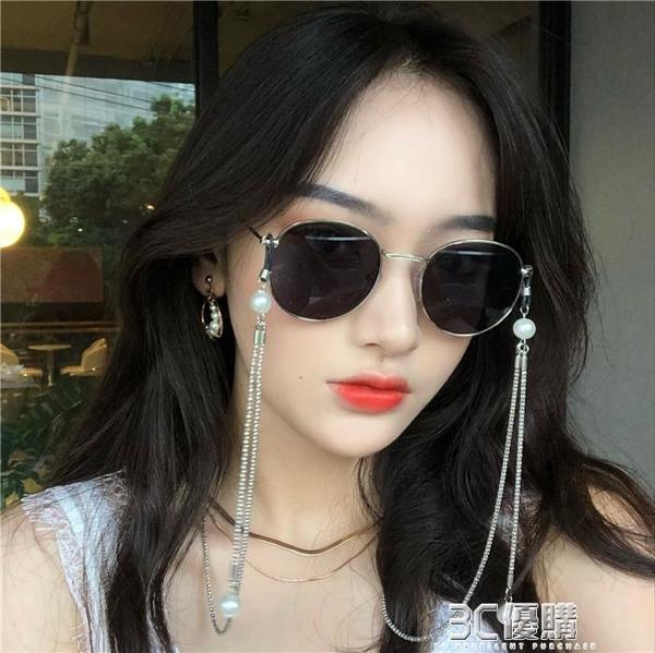 2020復古金邊珍珠鏈條搭配氣質女款偏光墨鏡女潮街拍太陽眼鏡ins 3C優購