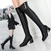 膝上靴 皮靴2020秋冬新款加絨顯瘦粗跟彈力靴長靴騎士靴