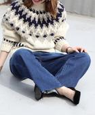 出清 牛仔褲女 喇叭褲 抽鬚 深藍  日本品牌【coen】