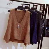 毛衣女短款春2018新款韓版V領坎肩毛線背心無袖針織衫外套『櫻花小屋』