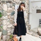 中大尺碼 顯瘦黑色繫帶背心裙洋裝 - 適XL~5L《 68004 》CC-GIRL