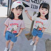 童裝女童夏裝2018正韓新款短袖T恤寶寶棉打底衫兒童洋氣上衣88折開學季,88折下殺