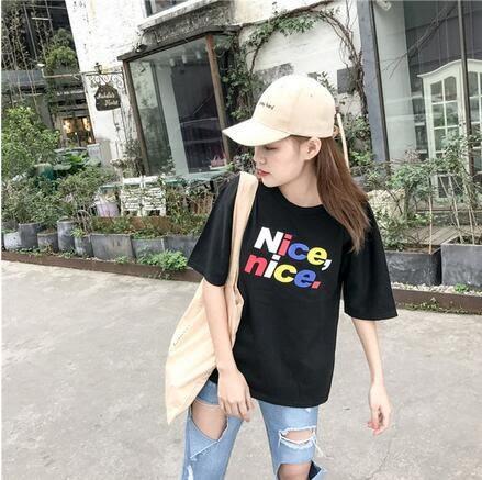 【AU16】韓國ulzzang時尚寬鬆NICE彩色印花圓領短袖T恤9840