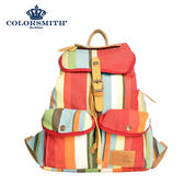 【COLORSMITH】OR・輕束繩雙口袋後背包-紅色直條紋・OR1342-RS-S