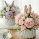 北歐仿真花套裝陶瓷麻繩花瓶玫瑰花 仿真植物盆栽家居裝飾假花盆