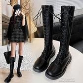 長筒靴女 長筒靴女不過膝馬丁靴秋季薄款高筒靴子新款百搭騎士長靴 快速出貨