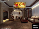 INPHIC-現代中式圓形手繪國畫布藝吊燈古典酒店餐廳臥室客廳書房中式吊燈-直徑80cm_S3081C