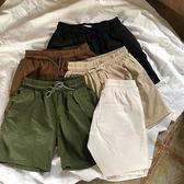 五色入 夏季薄款日繫工裝抽繩繫帶寬鬆休閒沙灘褲五分短褲男女   麥吉良品
