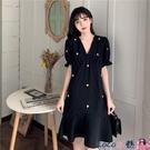 熱賣魚尾洋裝 法式復古黑色短袖連身裙女夏裝新款大碼胖MM赫本風氣質V領魚尾裙【618 狂歡】