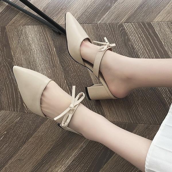 穆勒鞋.氣質甜美蝴蝶結一字簍空尖頭高跟拖鞋.白鳥麗子