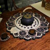 中式古典創意大號圓形茶盤套裝托盤杯墊仿石茶幾擺件禪意復古茶具   花間公主YYS