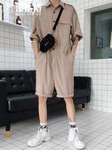 連體褲男潮ins網紅同款工裝褲韓版嘻哈男士學生背帶短褲衣服 魔法街